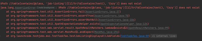 Java Assign 3 testJobListingDisplayAllJobFields