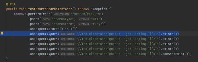 Java Assign 3 test4SearchTestCase jobListing 1