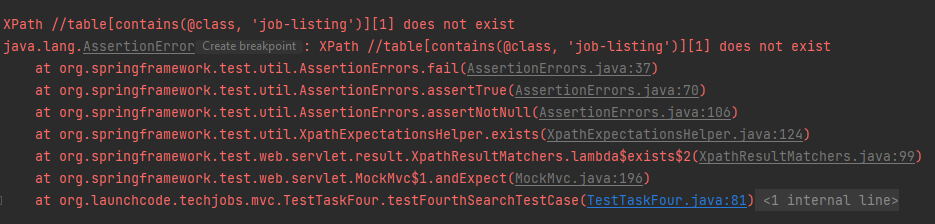 Java Assign 3 test4SearchTestCase